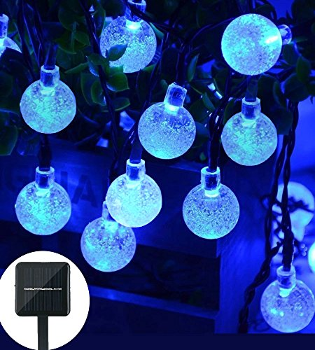 Christmas Solar String Light 20ft 30LED Fairy String Lights Bubble Crystal Ball Lights Decorative Lighting for Garland Garden Home Patio Lawn Party Holiday Ooutdoor Decor (blue) (Crystal Bubble)