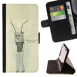 /Skull Market/ - ANTLERS SAD EMO PAPER BAG UGLY DRAWING For Samsung Galaxy S6 EDGE - Caja de la carpeta del tir???¡¯???€????€???????&b