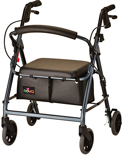 "NOVA GetGo Junior Rollator Walker (Petite Size), Rolling Walker for Height 4'10"" - 5""4"", Seat Height is 18.5"", Color Blue"