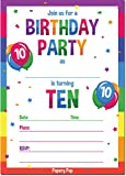 10th Birthday Party Invitations with Envelopes (15 Count) - 10 Year Old Kids Birthday Invitations for Boys or Girls - Rainbow