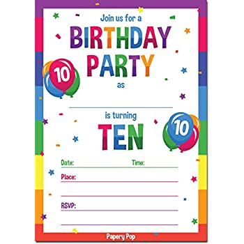 Papery Pop 10th Birthday Party Invitations With Envelopes 15 Count
