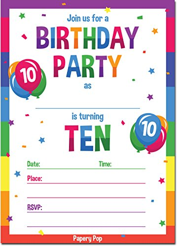 10th Birthday Party Invitations with Envelopes (15 Count) - 10 Year Old Kids Birthday Invitations for Boys or Girls - Rainbow by Papery Pop