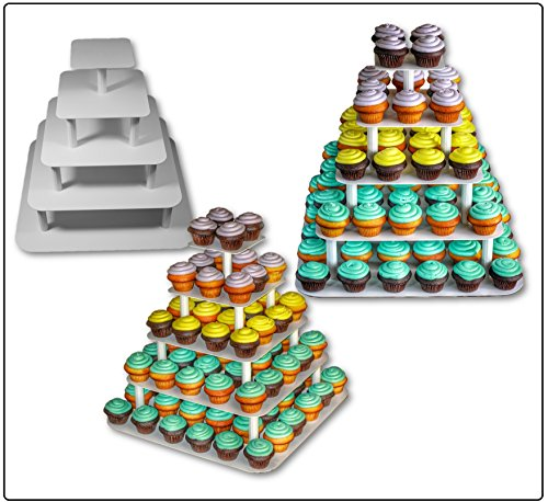 Professional Catering Cupcake Stand - Solid Aluminum - 5 Tier Premium Square - Holds 89 Large Cupcakes - Perfect for Weddings
