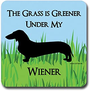 """product image for """"Greener Weiner"""" Dachshund Coasters (Set of 4)"""