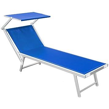 Lettini Da Spiaggia Leggeri.Q Bo Lettino Stabilimento Pieghevole Mare Spiaggia Leggero 190x61cm Blu Rimini T 05102