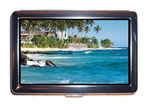 - Stainless Steel ID or Cigarettes Case,Beach Coast Ocean,Cash Holder Case Box