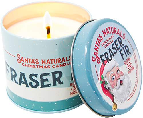 Santa's Naturals Fraser Fir Christmas Candle | Amazing Christmas Tree Aroma | 30-Hour Burn Time | Home Fragrance Candle | Ingredients Include Natural Essential Oils, Beeswax & Soy Wax ()