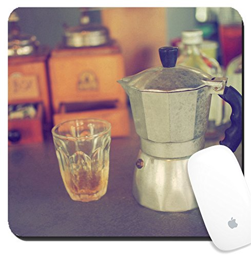 Luxlady Suqare Mousepad 8×8 Inch Mouse Pads/Mat design IMAGE ID: 34010862 coffee maker espresso machine on the table wood vintage color