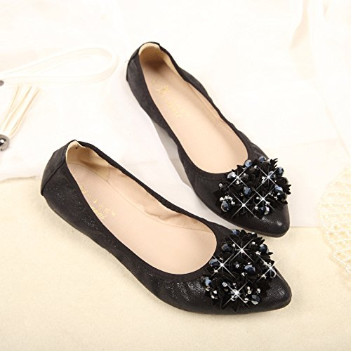 leisure Thirty dancing Flowers big Donyyyy size women's 45 shoes Black shoes training girls' Big Beaded nine code new small shoes code shoes 41 children's 2018 ballet qxSaF0g