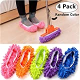 2 Pair Dust Mop Slippers Shoes Cover, Magnolora Multifunctional Washable Microfiber Cleaning Foot Socks Dust Mop Slippers Floor Cleaning Shoes Covers for Bathroom, Office and Kitchen, House Polishing Cleaning