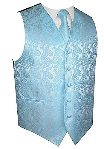 - Men's 3pc Paisley Design Dress Vest Tie Handkerchief Set For Suit or Tuxedo (2XL (Chest 48), Tiffany Blue)