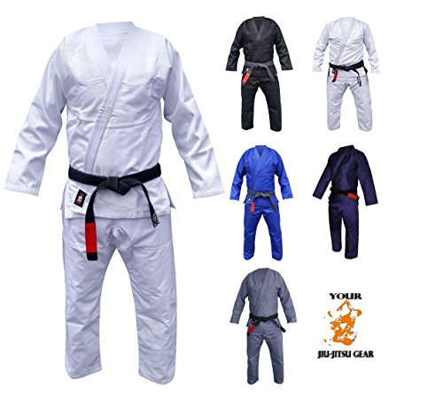 Your Jiu Jitsu Gear Brazilian Jiu Jitsu Uniform A1 White with FREE BJJ White Belt