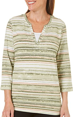 Erika Womens Rhinestone Split Neck Striped Top X-Large Spanish Green Striped Split Neck Top
