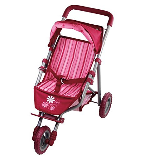 Gotz Three-Wheel Jogging Stroller with Canopy & Storage Basket for Dolls up to 20''