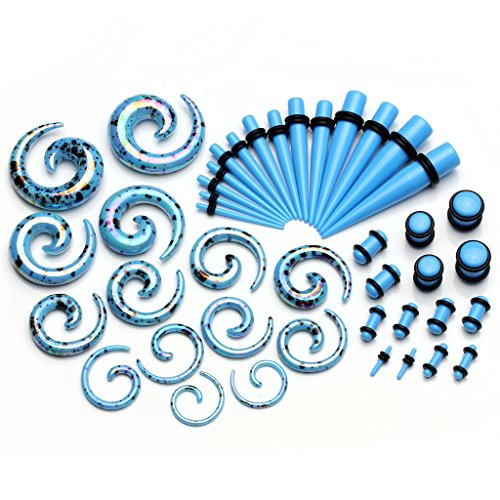 PiercingJ 42 Pieces Acrylic Gauge Kit Spiral Tapers and Plugs 12G-00G Ear Stretching Starter - 21 Pairs