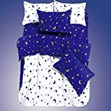 Ttmall Twin Full/ Queen Size Cotton 4-pieces White Blue Yellow Moons Stars for Boys Prints Duvet Cover Sets (Queen, 1duvet Cover+1flat Sheet+2pillowcases)