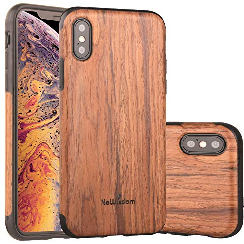 NeWisdom iPhone Xs Case Wood, iPhone X S Wood Case Unique Thin Slim Soft Protective Anti-Shock Shockproof (5.8