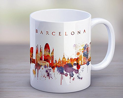 Barcelona Coffee Mug,Barcelona City Skyline Mug,Spain Cup,Travel Souvenir,Birthday Christmas Anniversary Gifts Idea,Tea Mug 11oz by Ditooms