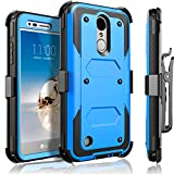 LG Aristo Case, LG Phoenix 3 Case, LG K8 2017 Case, LG Fortune Case, Circlemalls [SUPER GUARD]Dual Layer Protection With [Built-in Screen Protector] Holster Belt Clip + Touch Screen Pen[Blue]