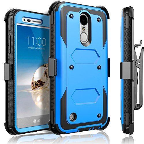 LG Aristo Case, LG Phoenix 3 Case, LG K8 2017 Case, LG Fortune Case, Circlemalls [SUPER GUARD]Dual Layer Protection With [Built-in Screen Protector] Holster Belt Clip + Touch Screen Pen[Blue] by CircleMalls