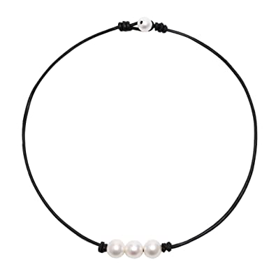 00e53020b2bc2 POTESSA White Pearl Choker Necklace with Three Beads on Genuine Leather  Jewelry for Women