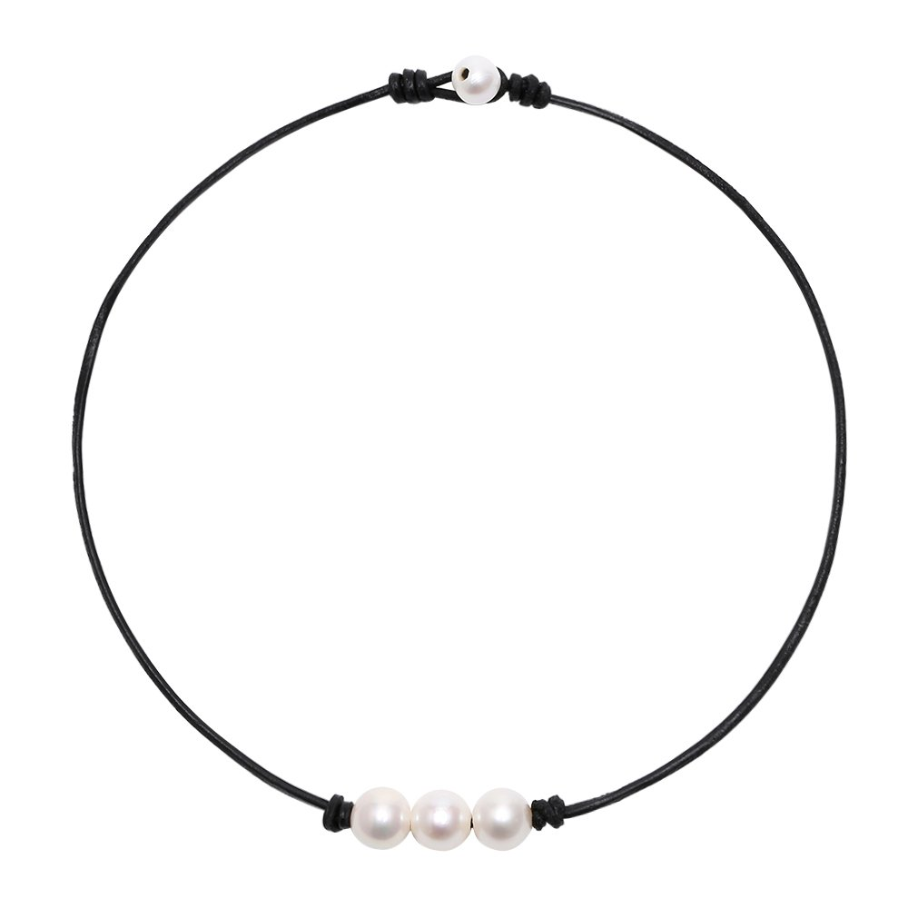POTESSA White Pearl Choker Necklace with Three Beads on Genuine Leather Jewelry for Girls Women 16''