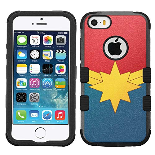 iPhone SE case, iPhone 5 case, iPhone 5s case, Hard+Rubber Dual Layer Hybrid Heavy-Duty Rugged Armor Cover Case - Captain Marvel #L (Phone Marvel Iphone 5 Case)