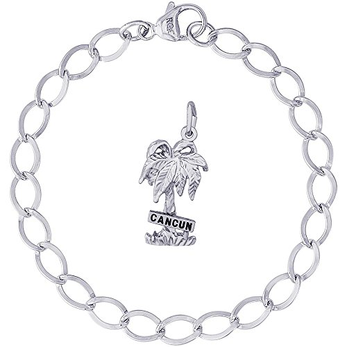 Rembrandt Charms Sterling Silver Cancun Palm Tree Charm on a Dapped Curb Bracelet, 7