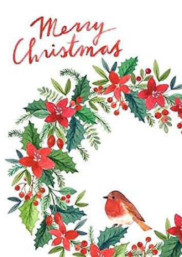 20 x 28 Merry Christmas Wreath Poster Print by PS Art Studios