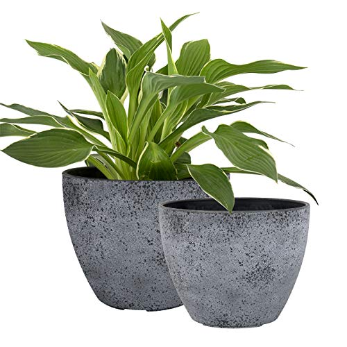 Flower Pots Outdoor Indoor Garden Planters, Plant Containers with Drain Hole, Rock Grey (8.6 + 7.5 Inch)