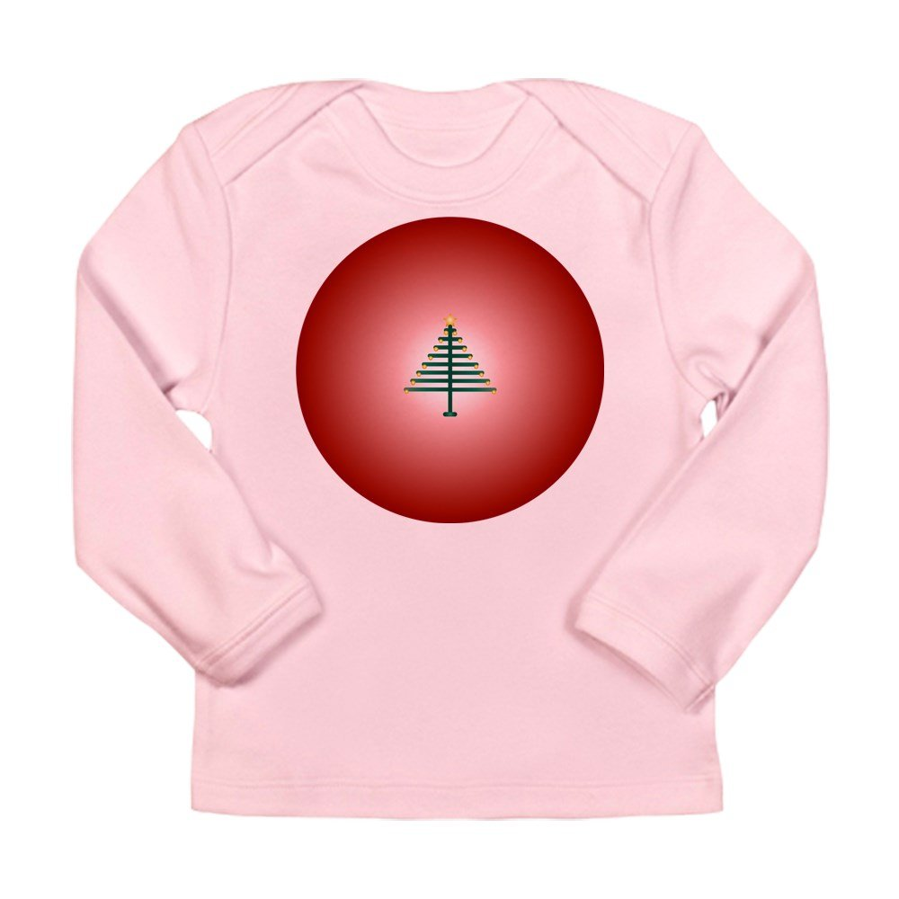 Petal Pink 0-3 Truly Teague Long Sleeve Infant T-Shirt Christmas Tree On Red Bulb