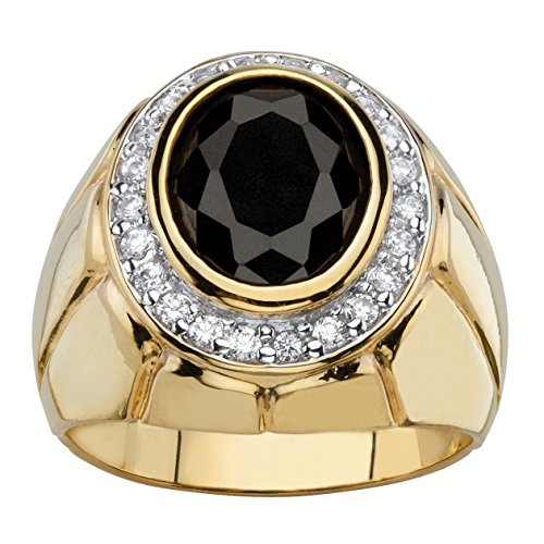 Palm Beach Jewelry Men's Oval Black and White Cubic Zirconia 14k Gold-Plated Bezel-Set Faceted Halo Ring Size 10