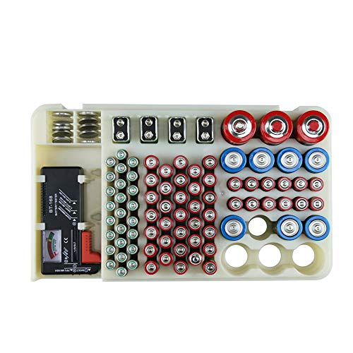 Battery Organizer Storage Rack with a Removable Battery Tester Holds (98) by HEYANG (Image #4)