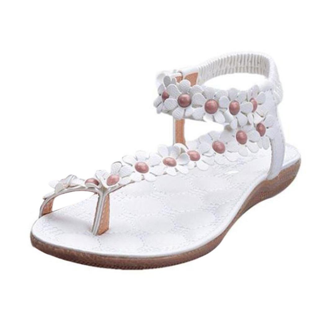 Sandales Plates Femmes, LuckyGirls® Femme Sandales à Perles de Bohème Été Sandales...