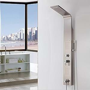 GOWE Panel de ducha níquel cepillado sola manija montado en la pared multifunción cascada y lluvia Columna de ducha barra de ducha