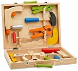 wood kits for kids tool box - Top Race 12 Piece Tool Box, Solid Wood Tool Box with Colorful Wooden Tools, Construction Toy Role Play Set