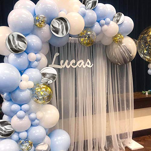 PartyWoo Blue and White Balloons 40 pcs 12 Inch Baby Blue Balloons White Balloons Pack White Marble Balloons and Gold Confetti Party Balloons for Boy Baby Shower Decorations, Boy Birthday Decorations -