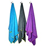 Flow Quick Dry Swim Towel for Competitive Swimming - Available in 2 Sizes and 3 Colors (Blue, Purple, Gray) (Gray, Large (60' x 30'))