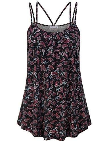 JCZHWQU Ladies Tank Tops Womens Sleeveless Shirt Basic Comfy Lightweight Hi-Low Curved Hem Bohemian Exotic Paisley Printed Babydoll Cami Tank Tops Black XL
