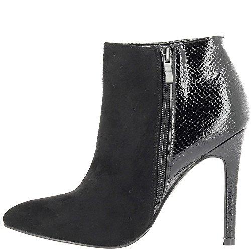 Schwarze Damen Stiefel Ferse 11cm Bi-material