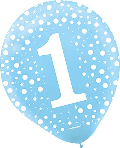 Party Decor Amscan 113070 Number 1 Printed Latex Balloons Powder Blue