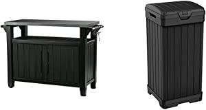 Keter Unity XL Portable Outdoor Table and Storage Cabinet, Dark Grey & Baltimore 38 Gallon Trash Can with Lid and Drip Tray, 38 Gallons, Black