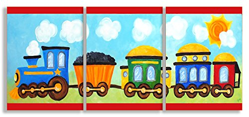 (The Kids Room by Stupell Choo Choo Train in The Sun 3-Pc. Rectangle Wall Plaque Set, 11 x 0.5 x 15, Proudly Made in USA)