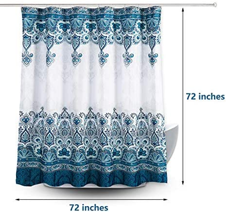 "MIGVELA Shower Curtain Liner with 12 Hooks Polyester Fabric Shower Curtains Washable Waterproof Shower Curtain Set for Bathroom (72"" x 72"")"