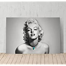 Marilyn Monroe Sexy Look Black and white with Blue Necklace Canvas Print Decorative Art Modern Wall Décor Artwork Wrapped Wood Stretcher Bars - Ready to Hang - %100 Handmade in the USA