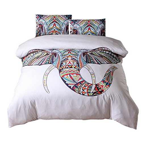Elephant Stitch (Hoomall 2 Piece Forest Elephant Stitches Pattern Quilt Bedspread Bed Cover Bedding Coverlets with Pillow Case Twin Size White)