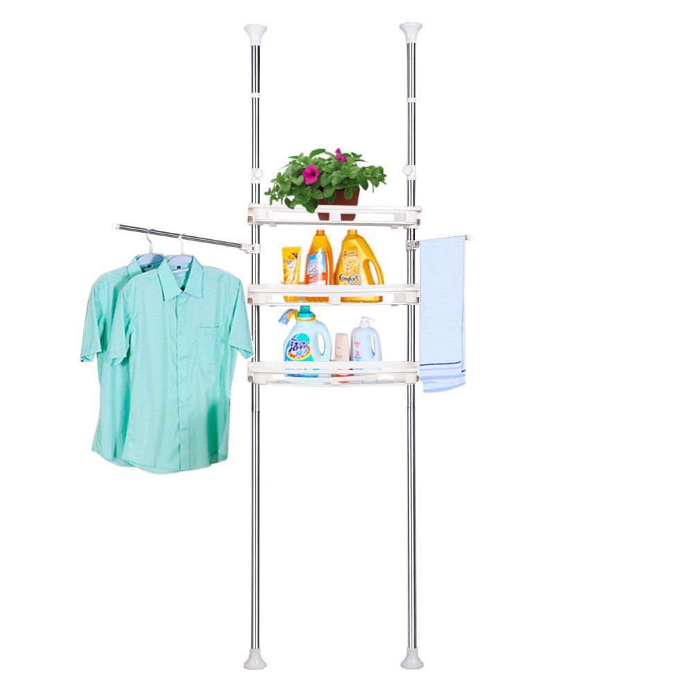 Baoyouni 3-Tier Bathroom Over the Toilet Storage Rack Organizer Space Saver Shelves with Adjustable Trays & 2 Towels Bar, Ivory