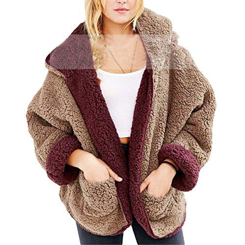 Femmes Manteaux  Capuche Peluche Mode Manches Longues Coat Cardigan en Automne/Hiver avec Poche (Color : Deep Red, Size : M)