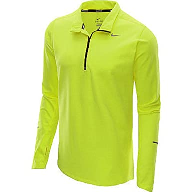 Amazon.com  Nike Running Dri-Fit 519199 Reflective Yellow-700 Zipper  Pullover Shirt Size Large  Clothing 15295a540c97