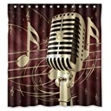 "Classic Waterproof Polyester Fabric Shower Curtain With Cool Culture Love Music Microphone And Music Notes Bathroom Decor Curtain (66""x72"")"